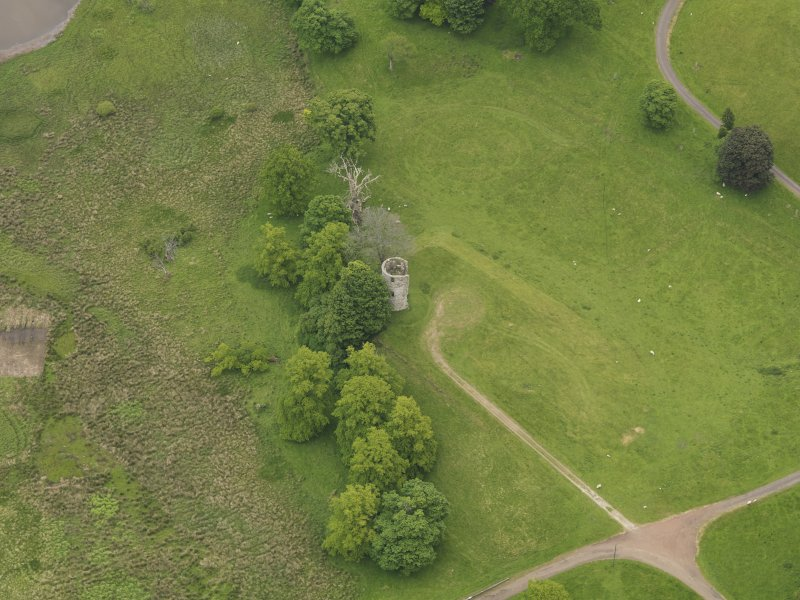 Oblique aerial view of Douglas Castle, taken from the W.