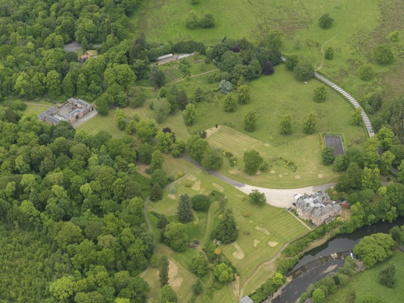 General oblique aerial view of Sorn Castle and policies, taken from the S.