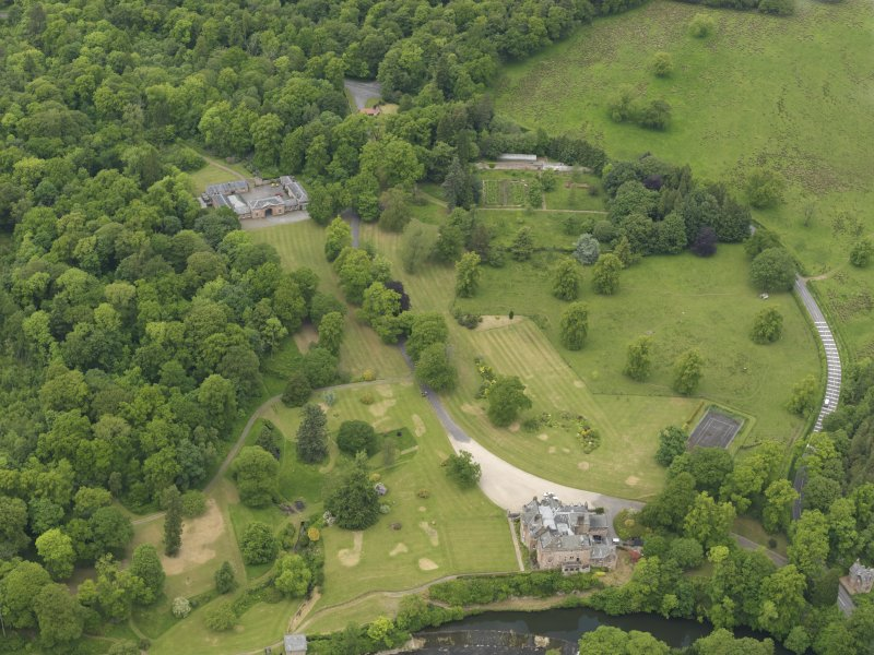 General oblique aerial view of Sorn Castle and policies, taken from the SSE.