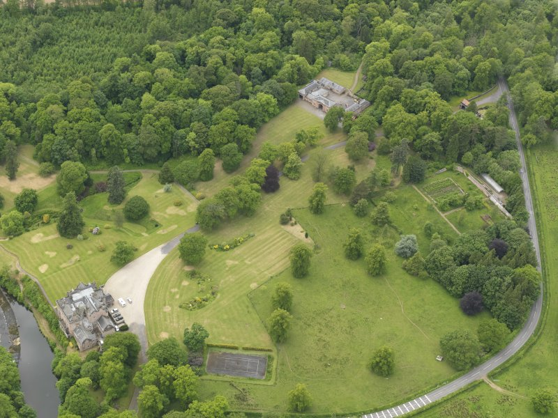 General oblique aerial view of Sorn Castle and policies, taken from the E.