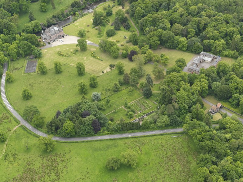 General oblique aerial view of Sorn Castle and policies, taken from the N.