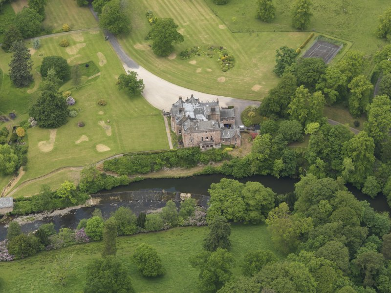 Oblique aerial view of Sorn Castle, taken from the SSE.