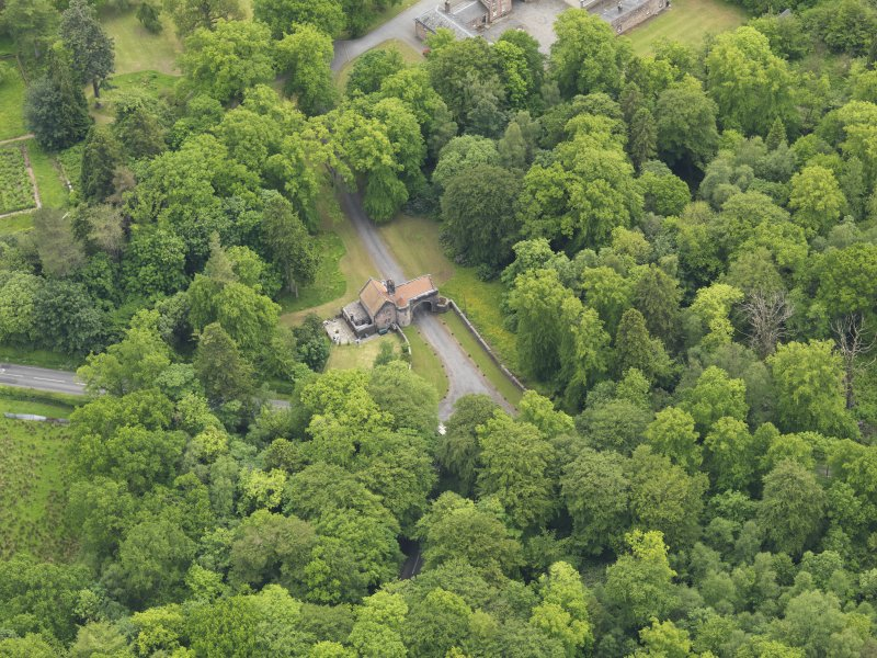 Oblique aerial view of Sorn Castle upper gate lodge, taken from the NNW.