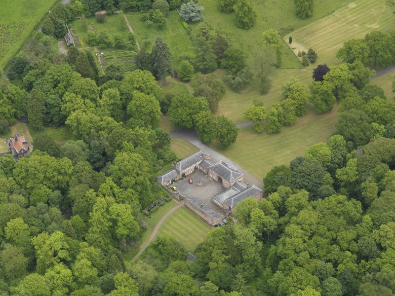 Oblique aerial view of Sorn Castle stables, taken from the WSW.