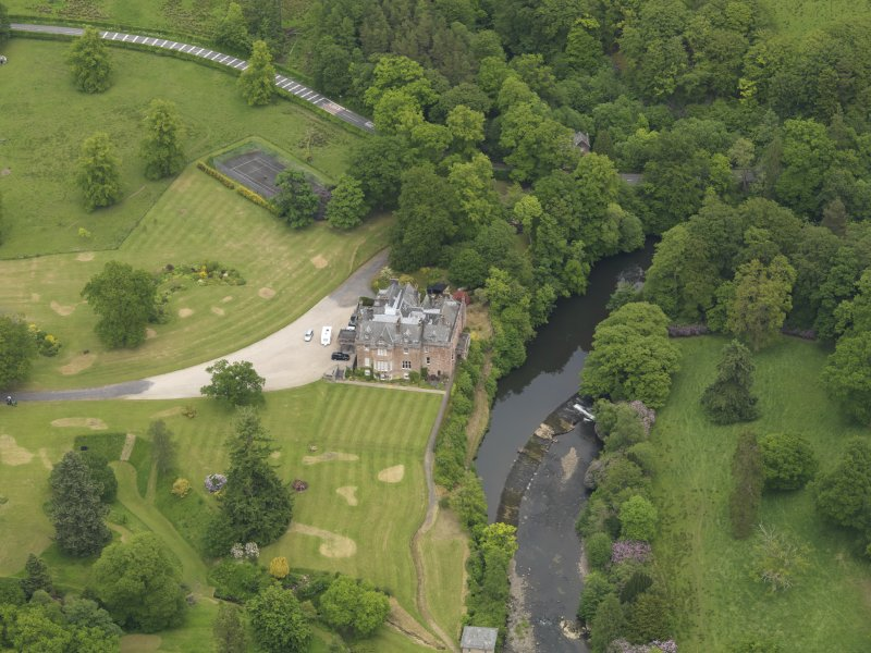 Oblique aerial view of Sorn Castle, taken from the SW.