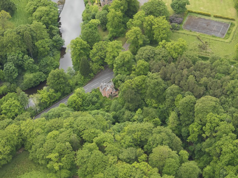Oblique aerial view of Cleuch Cottage at Sorn Castle, taken from the NE.