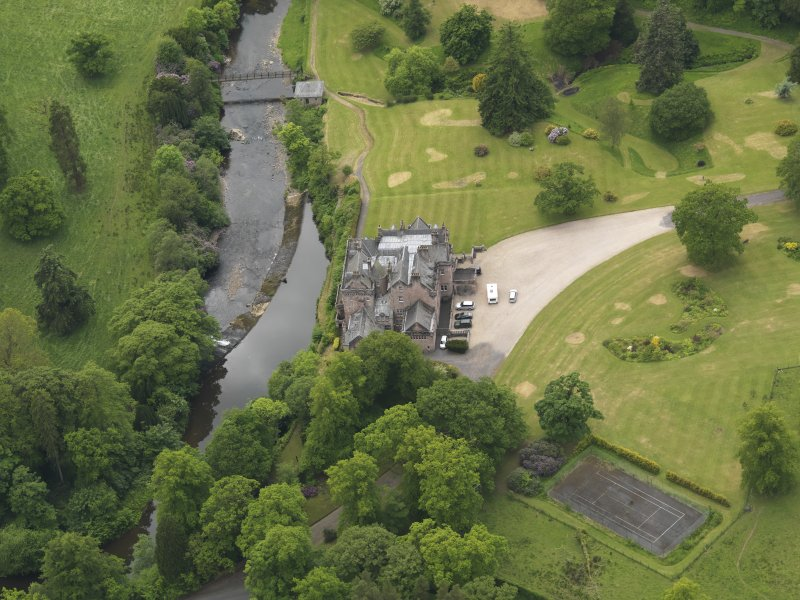 Oblique aerial view of Sorn Castle, taken from the NNE.