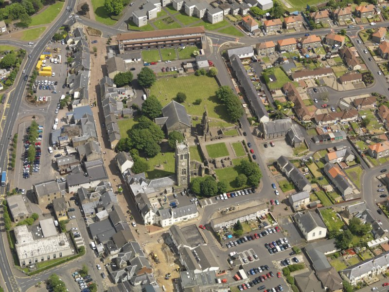 General oblique aerial view of Kilwinning Abbey, taken from the W.