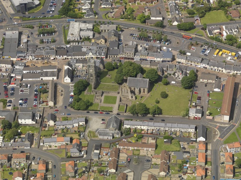 General oblique aerial view of Kilwinning Abbey, taken from the S.