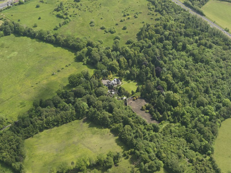 General oblique aerial view of Treesbank House and policies, taken from the WNW.