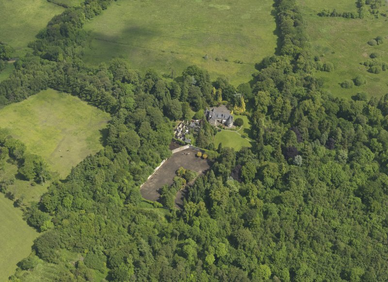 General oblique aerial view of Treesbank House and policies, taken from the SW.