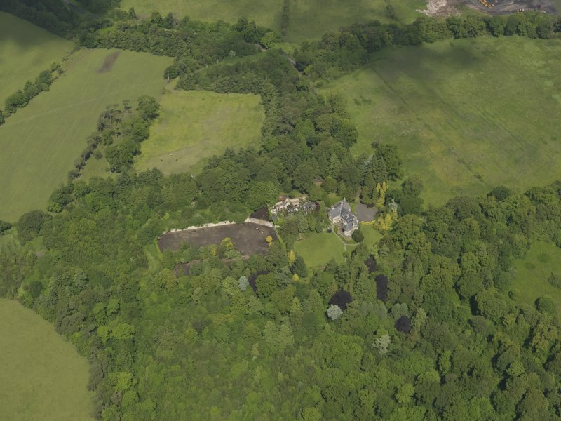 General oblique aerial view of Treesbank House and policies, taken from the SE.