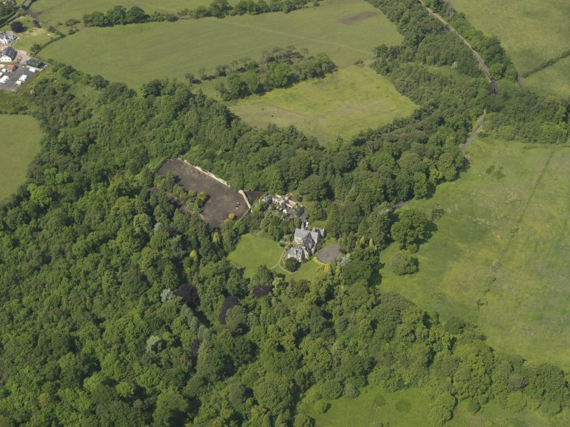 General oblique aerial view of Treesbank House and policies, taken from the NE.
