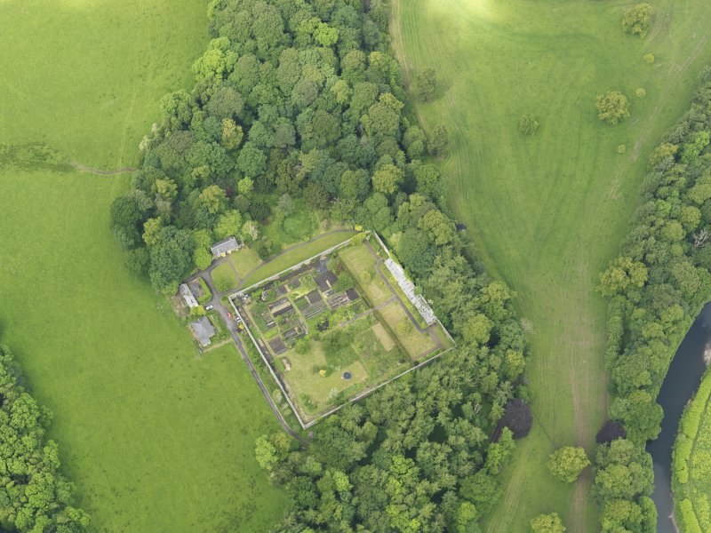 Oblique aerial view of Caprington Castle walled garden, taken from the SE.