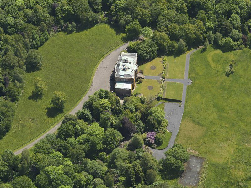 Oblique aerial view of Montgreenan House, taken from the NW.