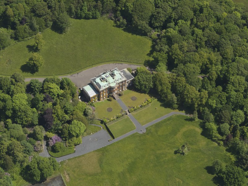 Oblique aerial view of Montgreenan House, taken from the SW.