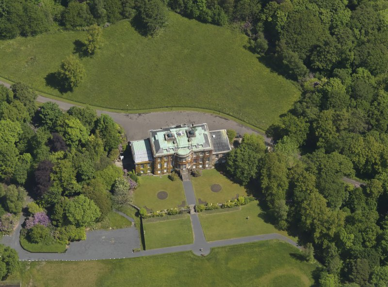 Oblique aerial view of Montgreenan House, taken from the SSW.