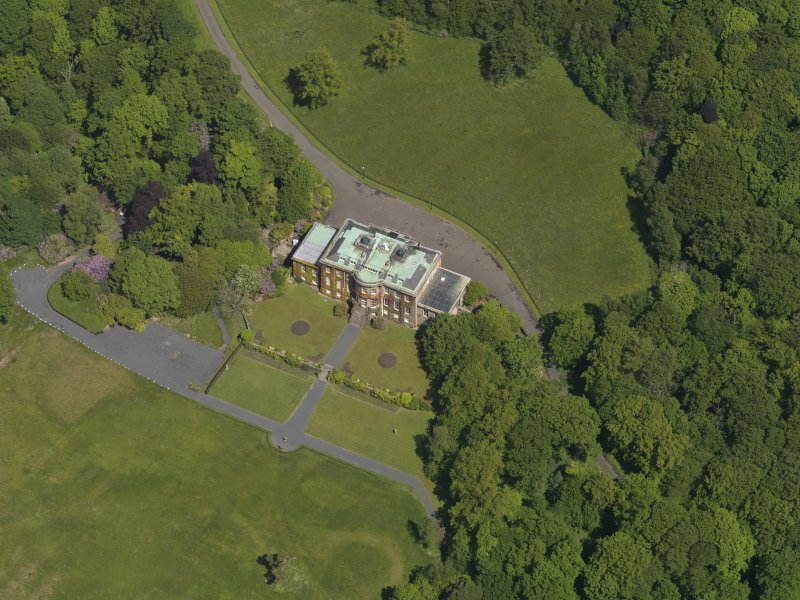 Oblique aerial view of Montgreenan House, taken from the S.