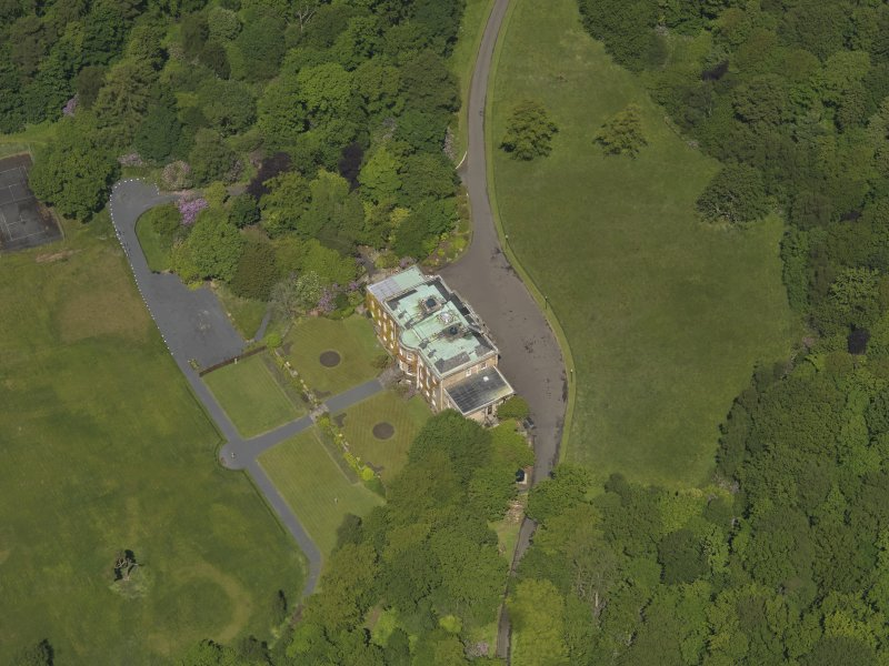 Oblique aerial view of Montgreenan House, taken from the SE.