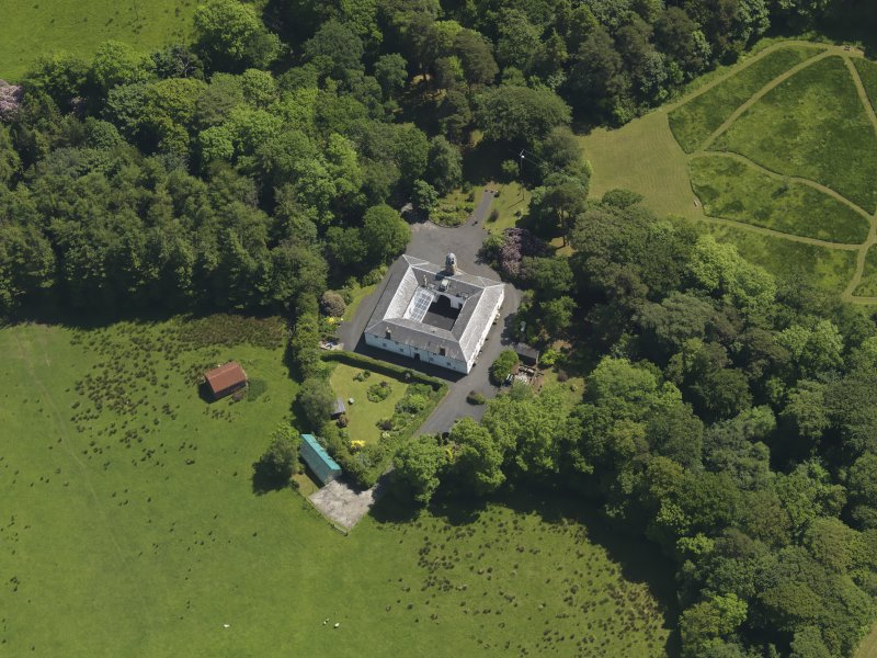 Oblique aerial view of Montgreenan stables, taken from the WNW.