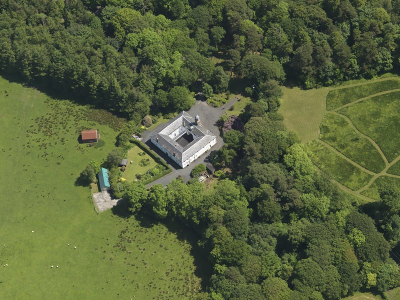 Oblique aerial view of Montgreenan stables, taken from the W.