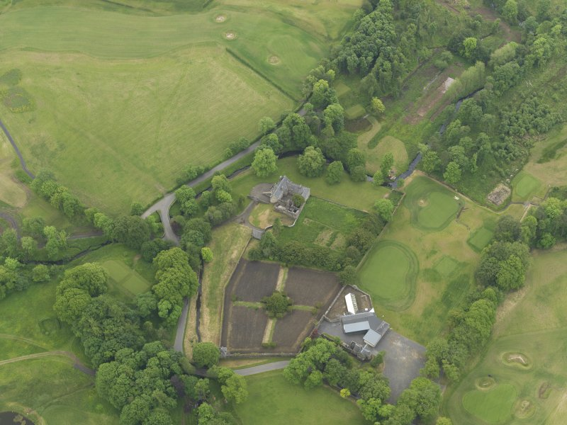 Oblique aerial view of Rowallan Castle and gardens, taken from the N.