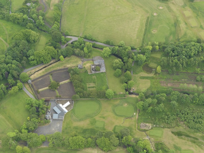 Oblique aerial view of Rowallan Castle and gardens, taken from the NNW.