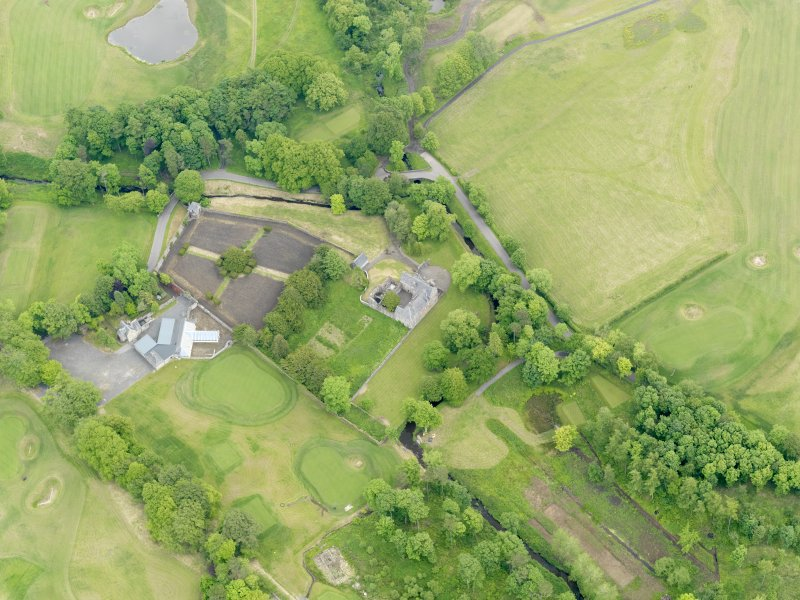 Oblique aerial view of Rowallan Castle and gardens, taken from the W.