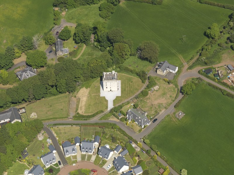 Oblique aerial view of Law Castle, taken from the S.