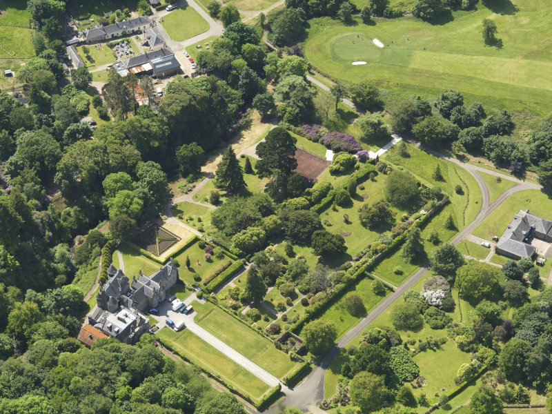 General oblique aerial view of Kelburn Castle and policies, taken from the NE.