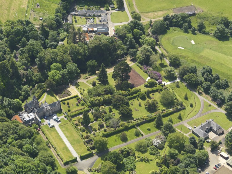 General oblique aerial view of Kelburn Castle and policies, taken from the NNE.