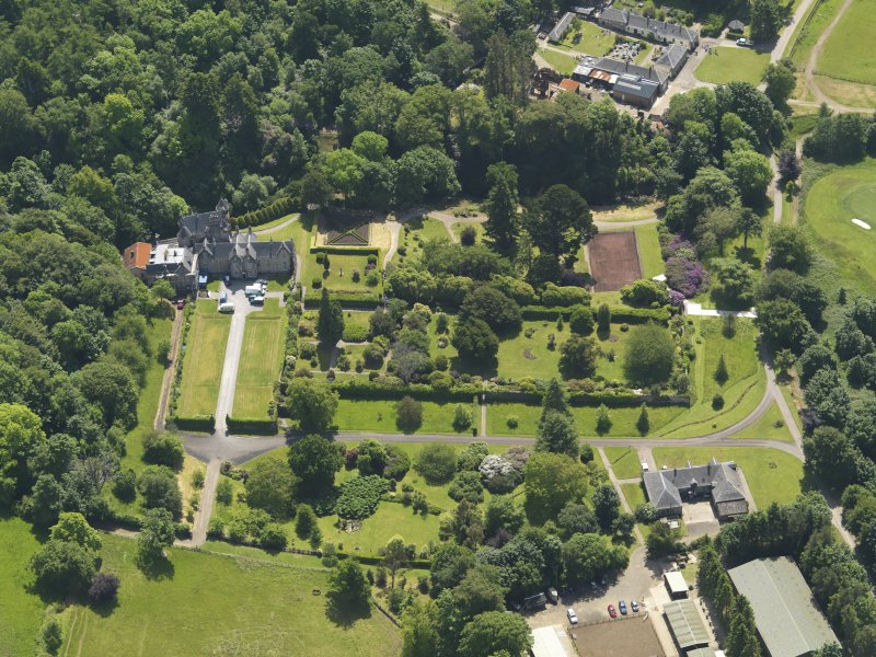General oblique aerial view of Kelburn Castle and policies, taken from the NNW.