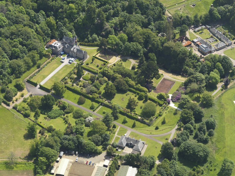 General oblique aerial view of Kelburn Castle and policies, taken from the WNW.