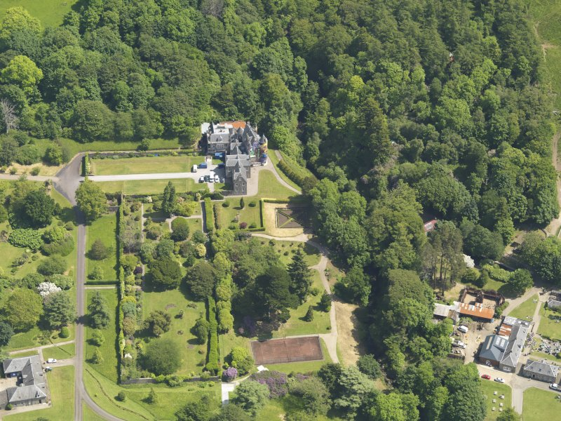 General oblique aerial view of Kelburn Castle and policies, taken from the W.