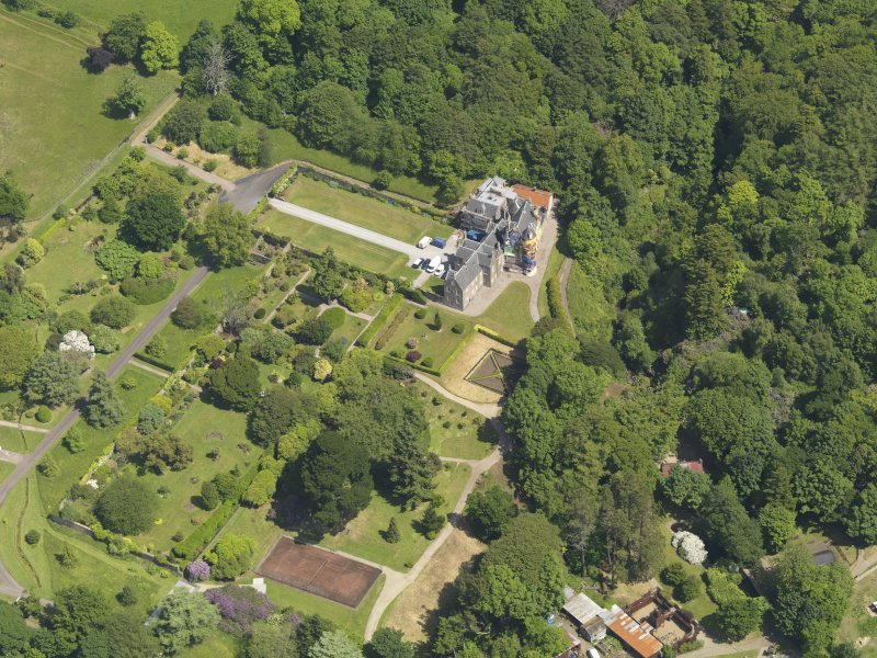 General oblique aerial view of Kelburn Castle and policies, taken from the SW.