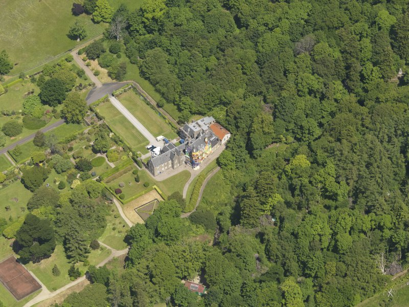Oblique aerial view of Kelburn Castle, taken from the SSW.