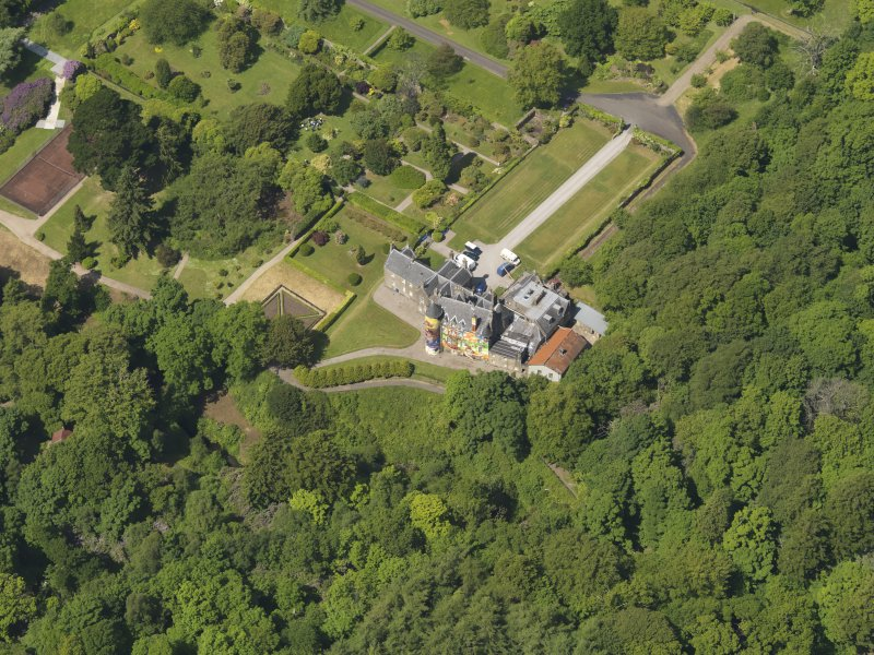 Oblique aerial view of Kelburn Castle, taken from the ESE.