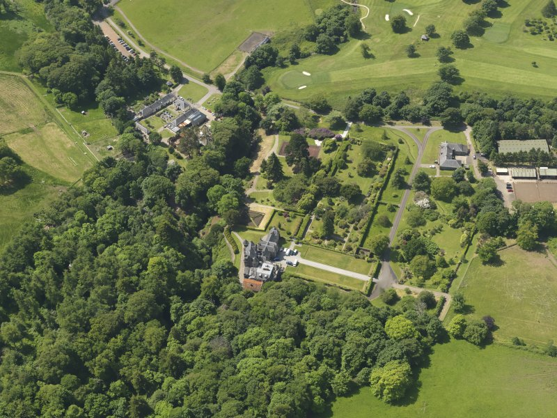 General oblique aerial view of Kelburn Castle and policies, taken from the ENE.