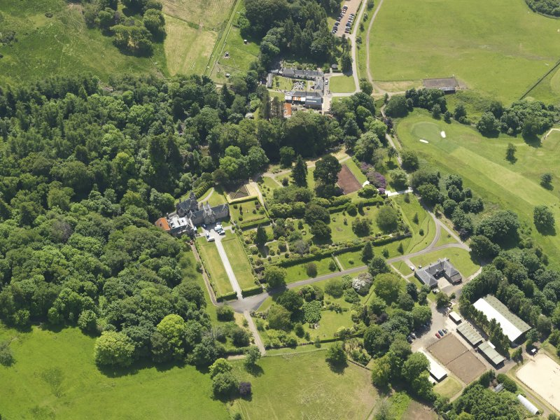 General oblique aerial view of Kelburn Castle and policies, taken from the N.