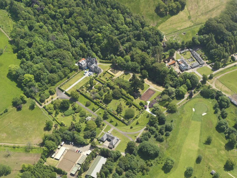General oblique aerial view of Kelburn Castle and policies, taken from the NW.