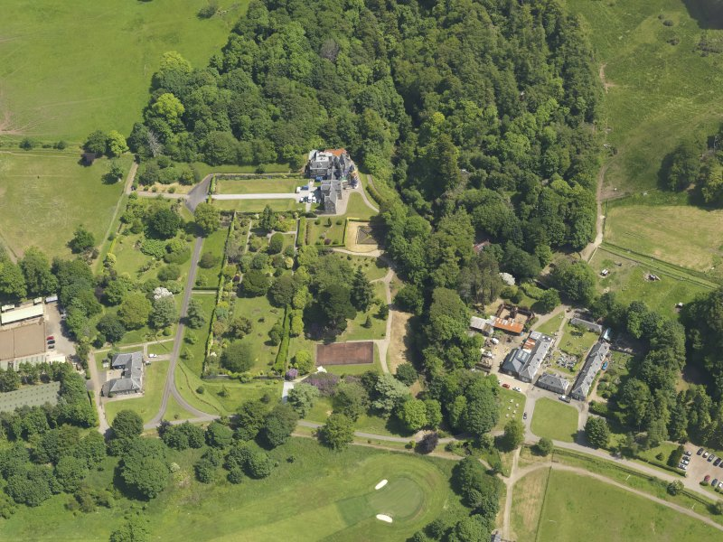 General oblique aerial view of Kelburn Castle and policies, taken from the WSW.