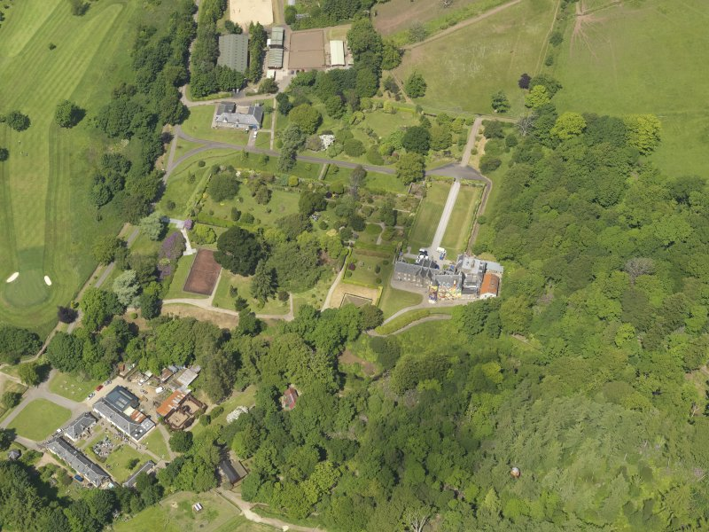General oblique aerial view of Kelburn Castle and policies, taken from the SSE.