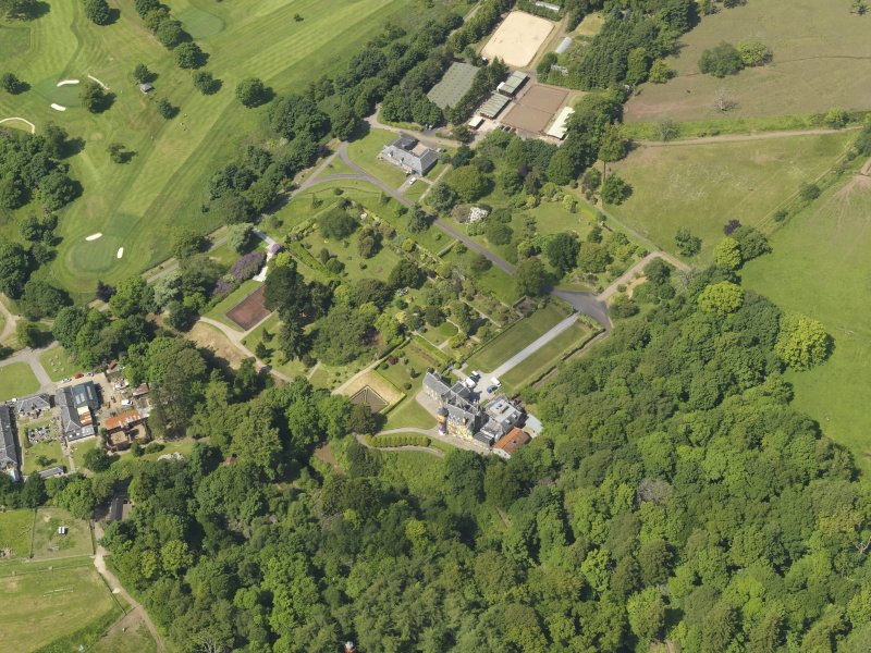 General oblique aerial view of Kelburn Castle and policies, taken from the SE.