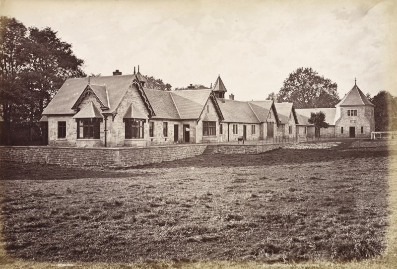 View of dairy buildings. Titled: 'Monteviot Dairy, Harestanes. No. 2'.