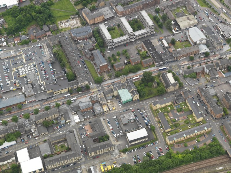 Oblique aerial view centred on Rutherglen Main street, taken from the NNE.