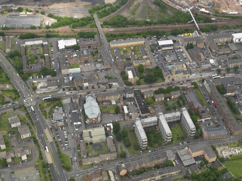 Oblique aerial view centred on Rutherglen Main Street, taken from the SSW.