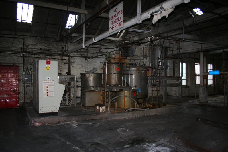 Interior. Building 4, Broke Bleaching and Recovery, first floor. View of Starch Cooker adjacent to the Paper Machine No.3 stock preparation area.
