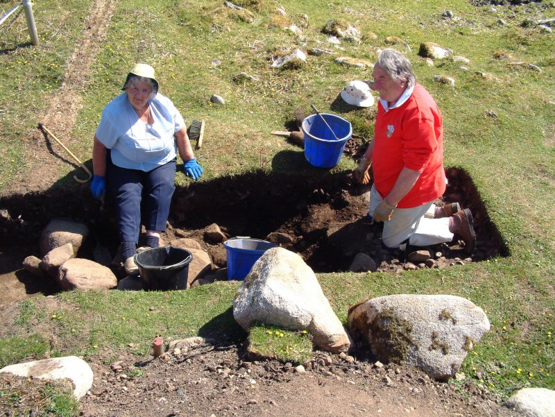 Graham and Sally Parry excavating in Trench 16