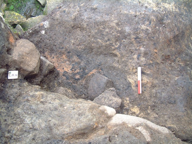 Trench 15 from the SW (above) showing ash and stone deposits lying against NE face of revetment wall F15.14 (scale = 0.2m)