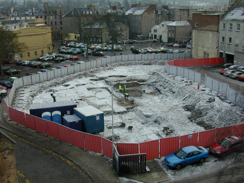 Aerial view of excavation at Horse Cross and Castle Gable, Perth, by SUAT Ltd.